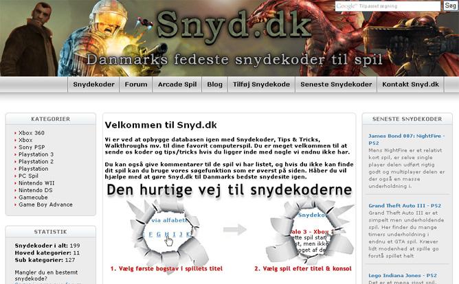 Skiftende designs på Snyd.dk